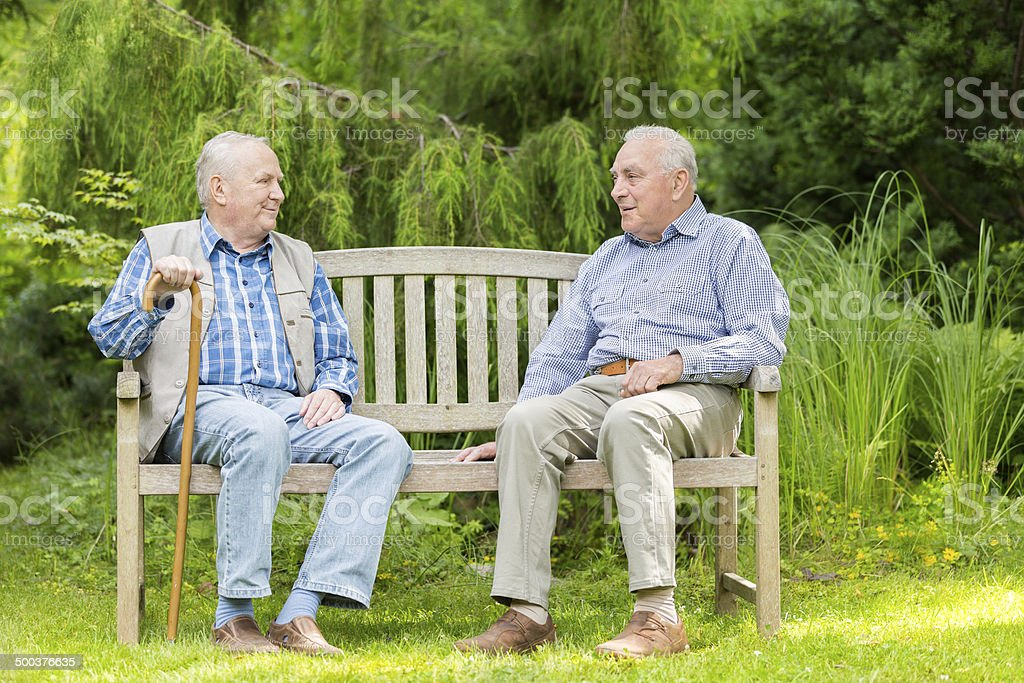 Two senior men sitting on bench in the park stock photo