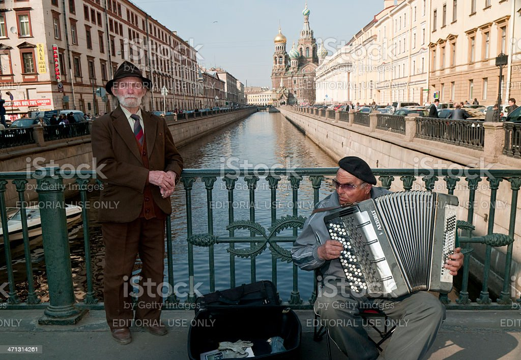 Two Senior Musicians in St Petersburg Russia royalty-free stock photo