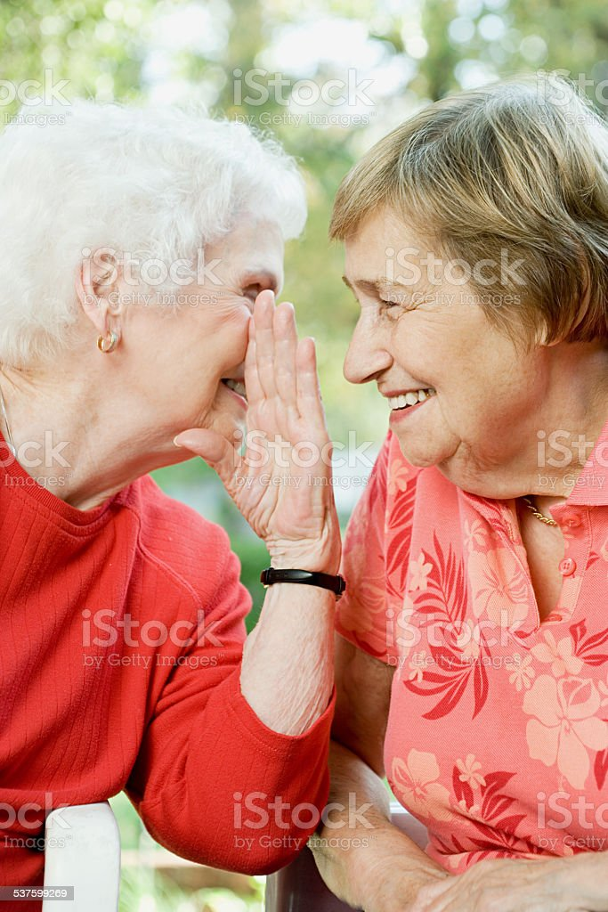 Two senior women sharing a secret stock photo