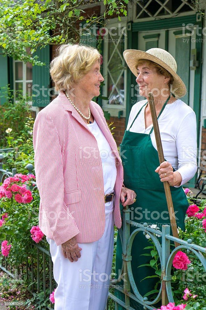 Two Senior Women Talking Together in Garden. stock photo