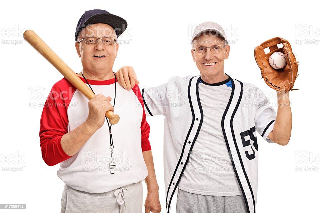 Two seniors baseball players stock photo