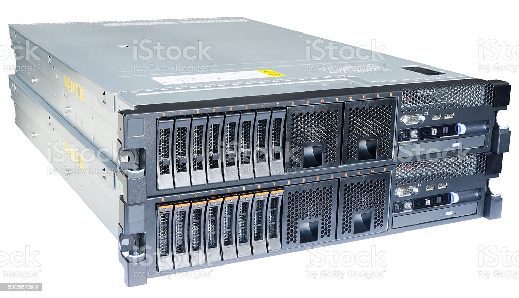 Two servers isolated on white stock photo