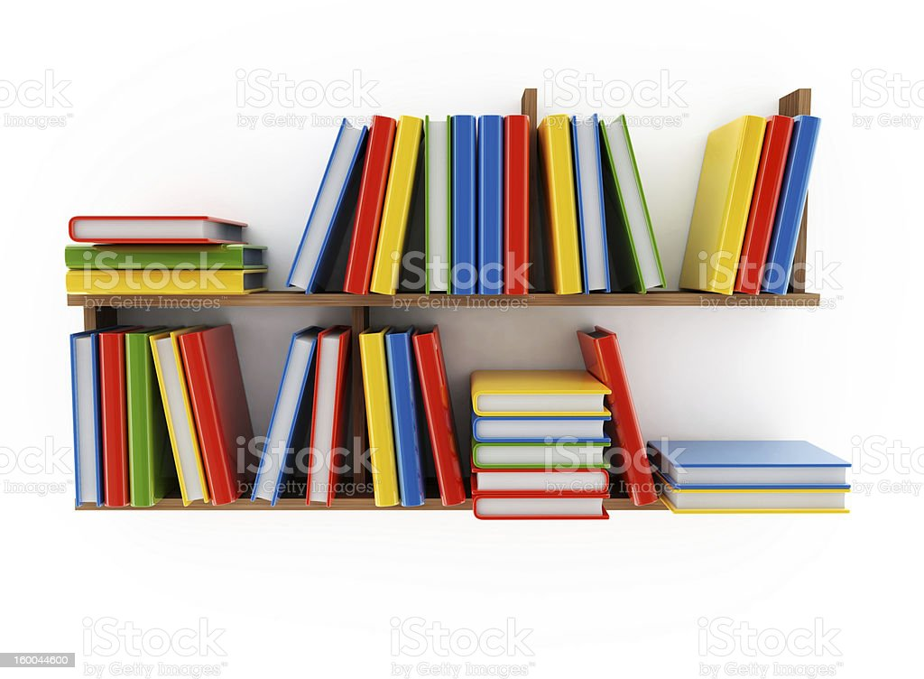 Two shelves of multiple colorful books on white background royalty-free stock photo