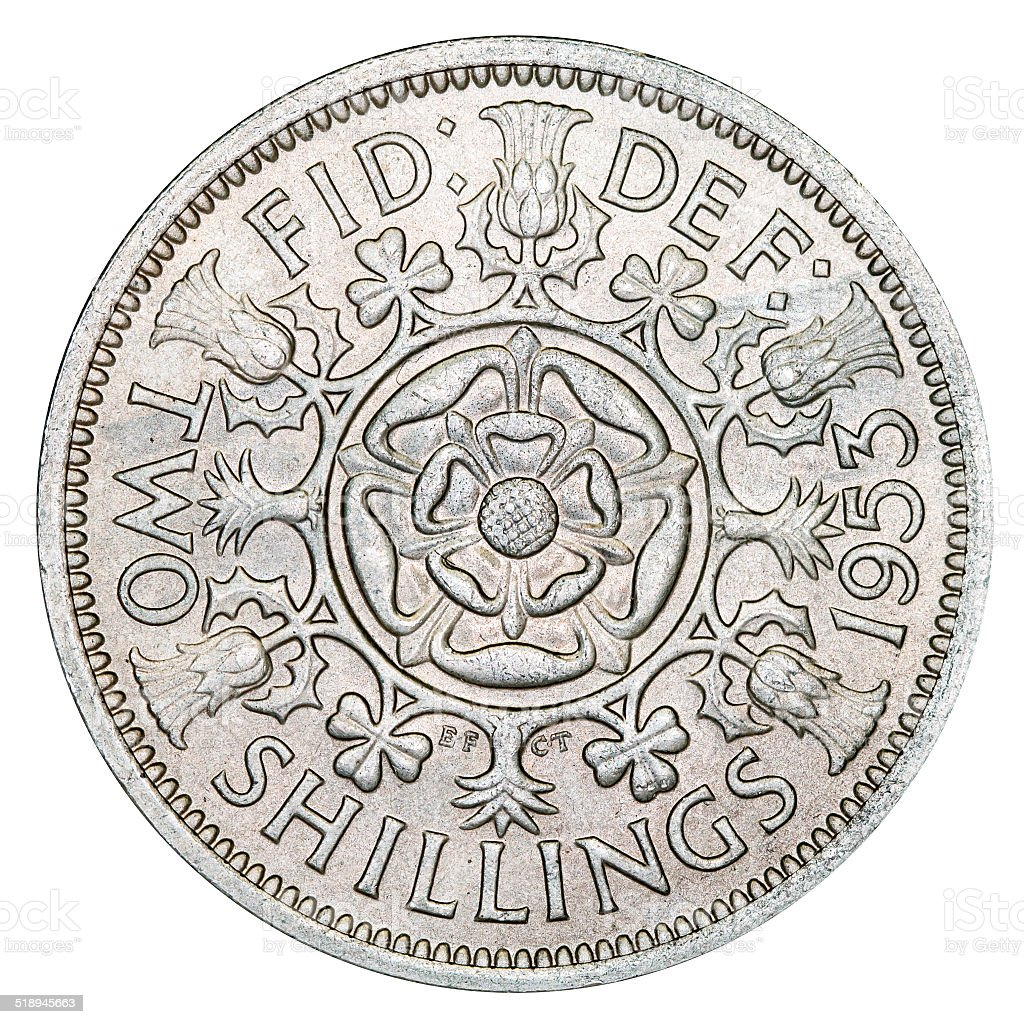 Two Shilling Coin stock photo