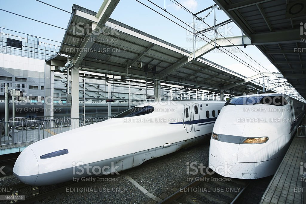Two Shinkansen Trains at Kyoto Station, Japan. royalty-free stock photo