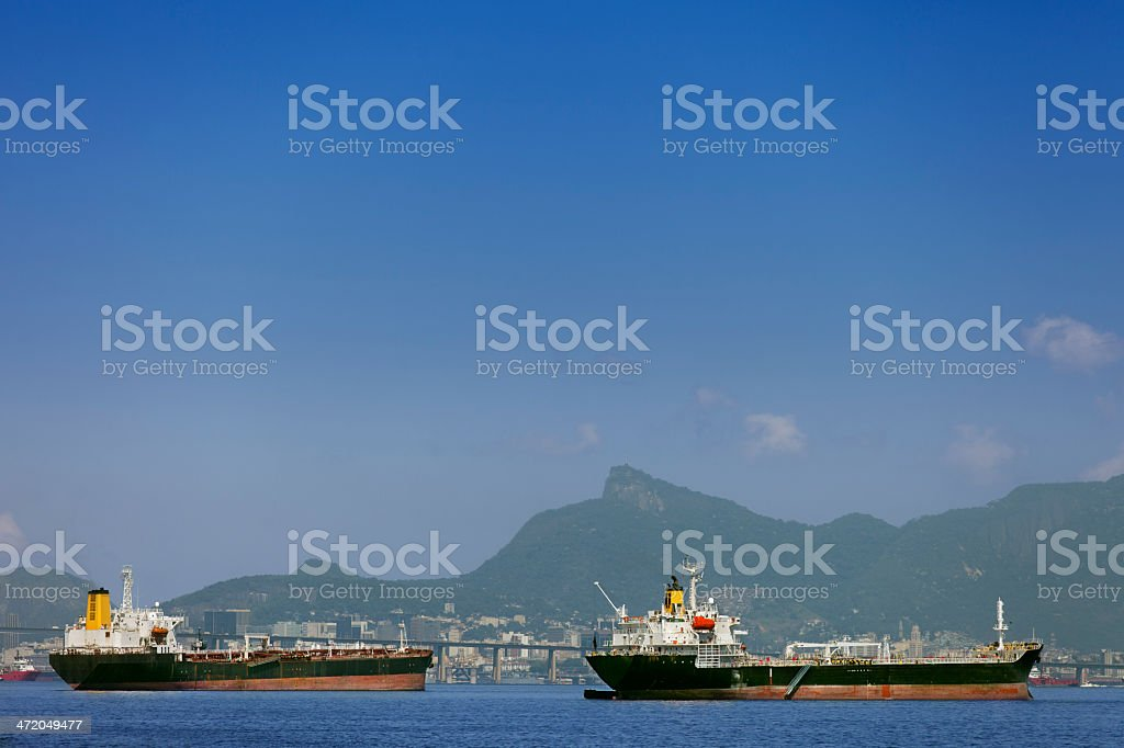 Two ships anchored at Guanabara Bay in Rio royalty-free stock photo