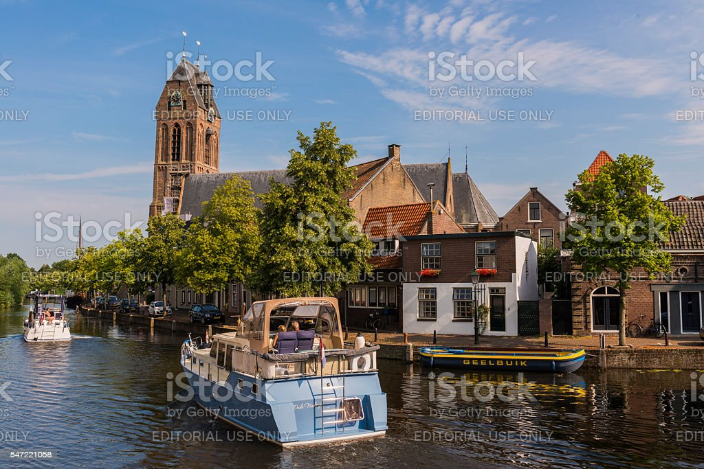Two ships in Oudewater stock photo