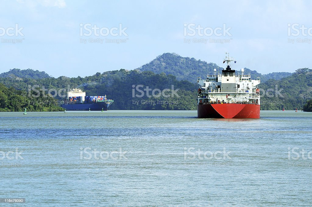 two ships in Panama Canal royalty-free stock photo