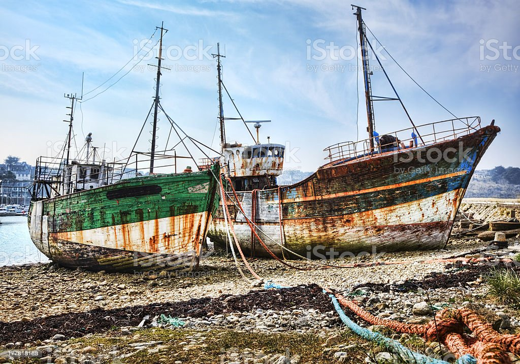 Two ships washed up on the shore of the Atlantic Ocean. royalty-free stock photo