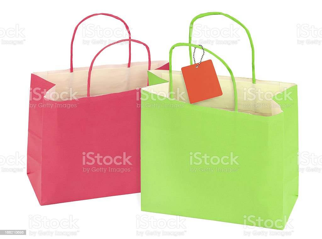 two shopping bags isolated on white royalty-free stock photo