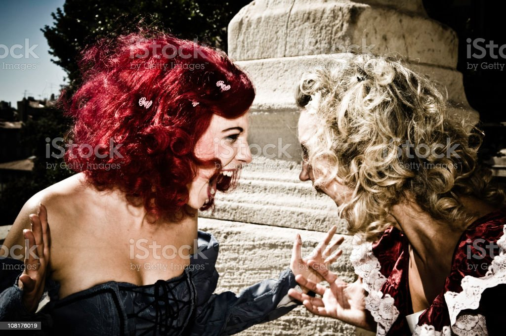 Two Shouting Woman In Baroque Fashion royalty-free stock photo