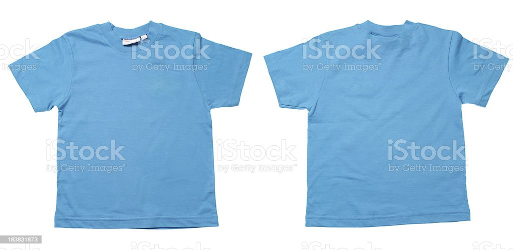 Two sides of a blue tshirt isolated stock photo