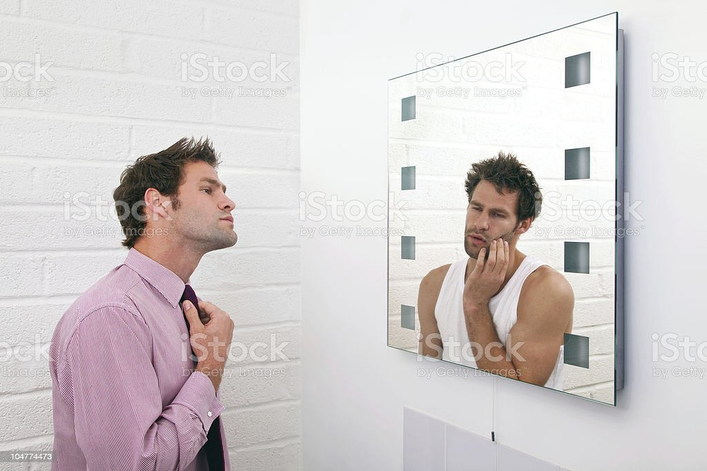 Two sides of getting ready in the morning royalty-free stock photo