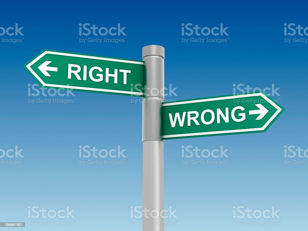 Two signboards, RIGHT and WRONG, representing choices royalty-free stock photo