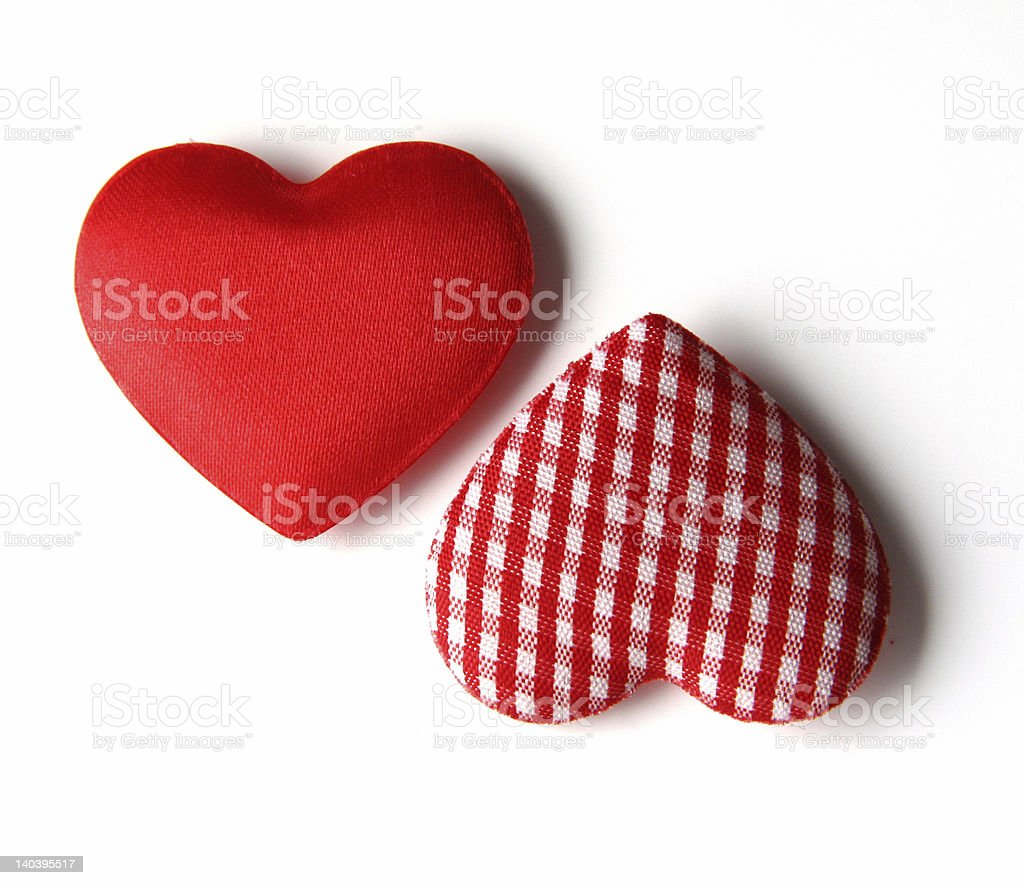 Two silk hearts royalty-free stock photo