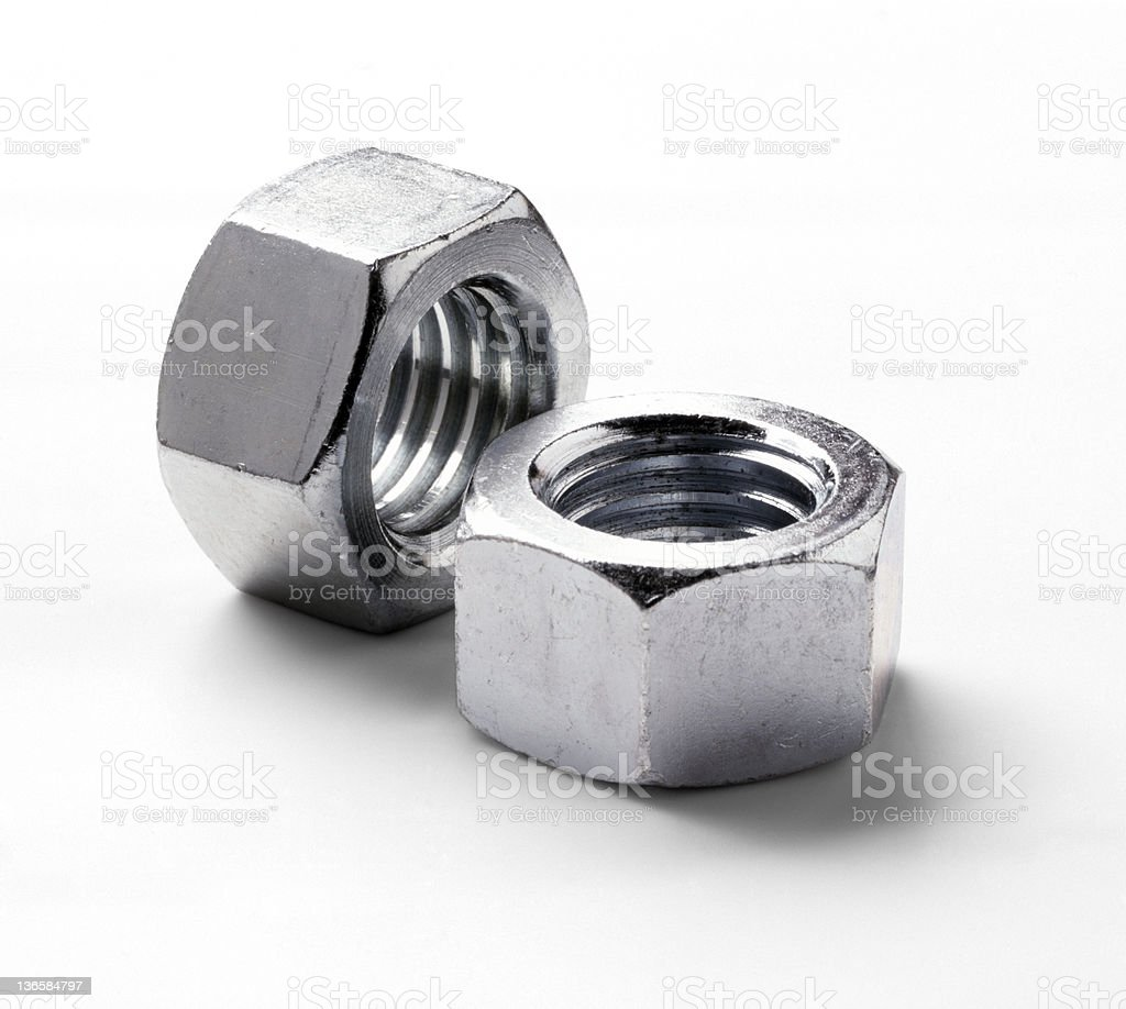 Two silver bolts on a white background royalty-free stock photo