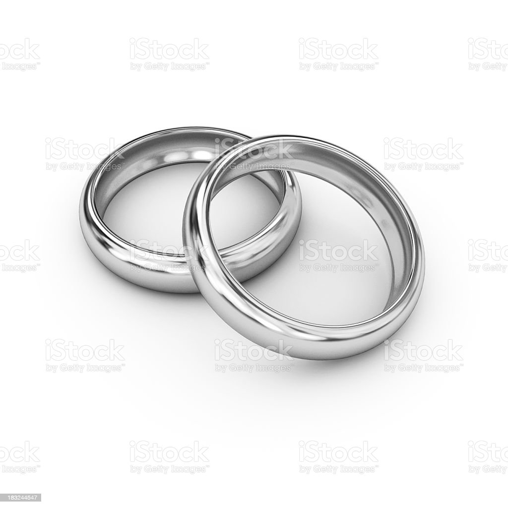 Two silver weddings bands on a white background stock photo