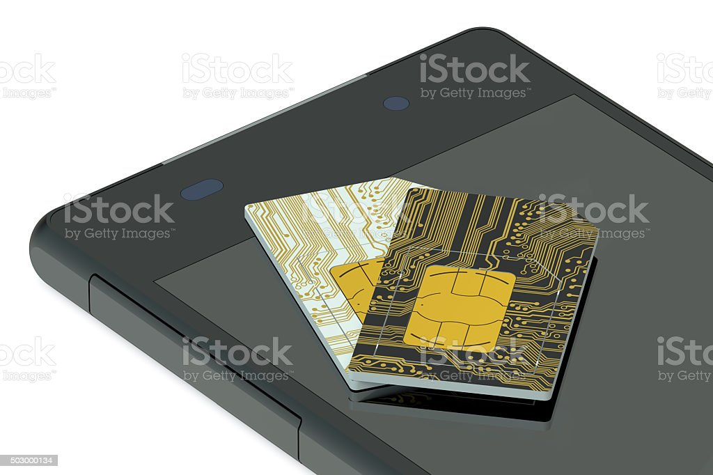 two SIM cards and phone stock photo