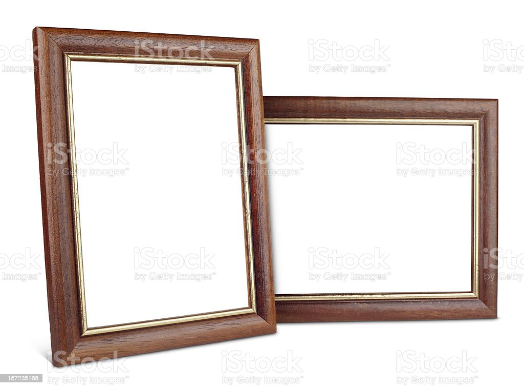 Two simple wooden picture frames with shadow royalty-free stock photo