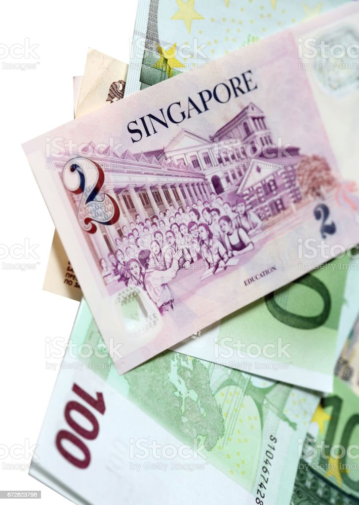 Two singapore dollars and banknotes euro stock photo