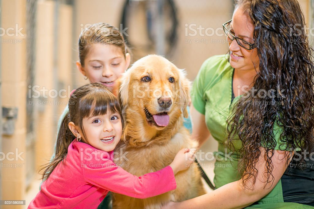 Two Sisters Adopting a Dog stock photo