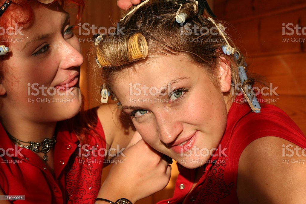 two sisters befor the party royalty-free stock photo