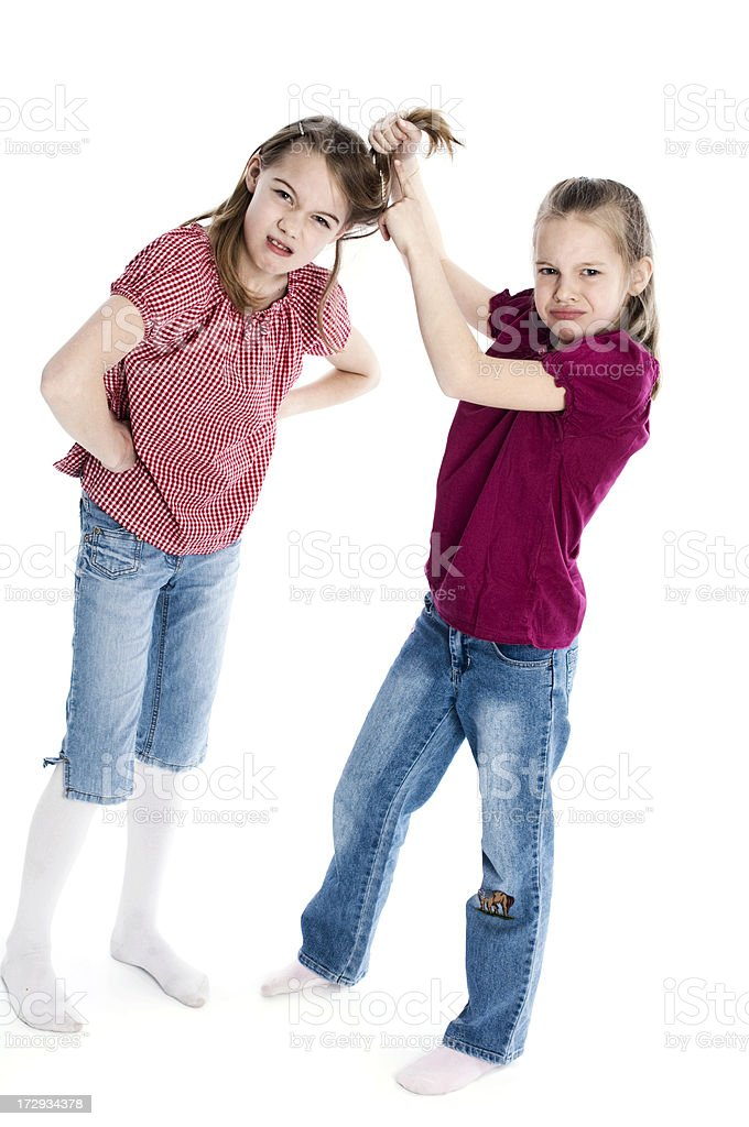 Two sisters having conflict royalty-free stock photo