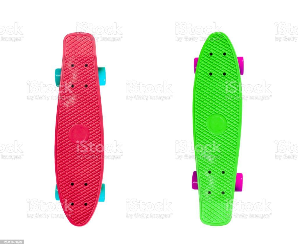 Two skateboards isolated on white stock photo