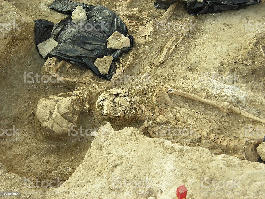 Two skeletons excavated in an ancient grave stock photo