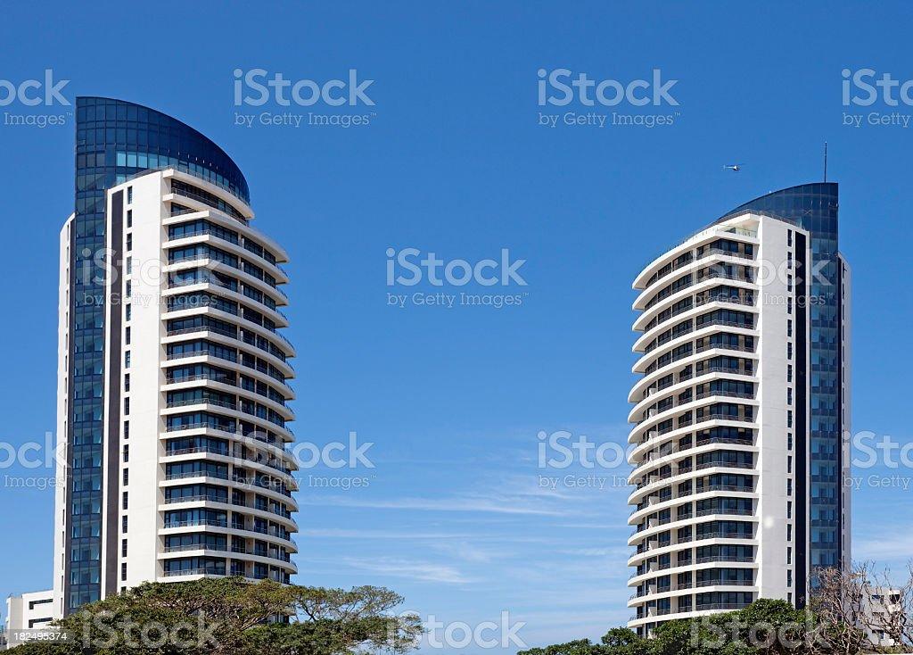 Two Skyscrapers in Umhlanga Rocks stock photo