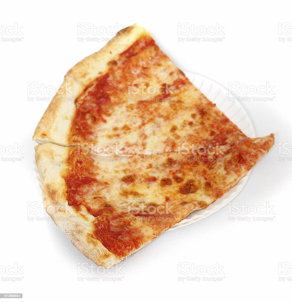 Two Slices of Cheese-Pizza on Paper Plate - White Background stock photo