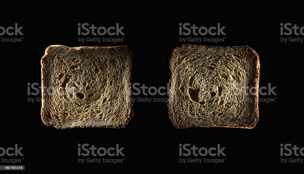 Two Slices of toasted bread (macro) royalty-free stock photo