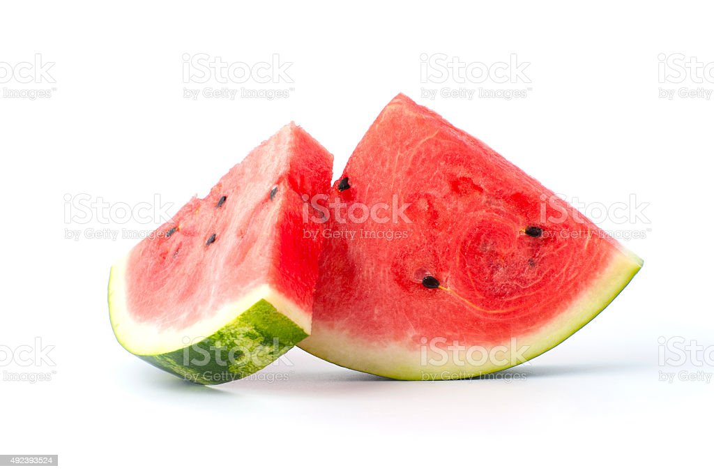 Two slices of watermelon on a white background. stock photo