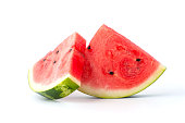 Two slices of watermelon on a white background.
