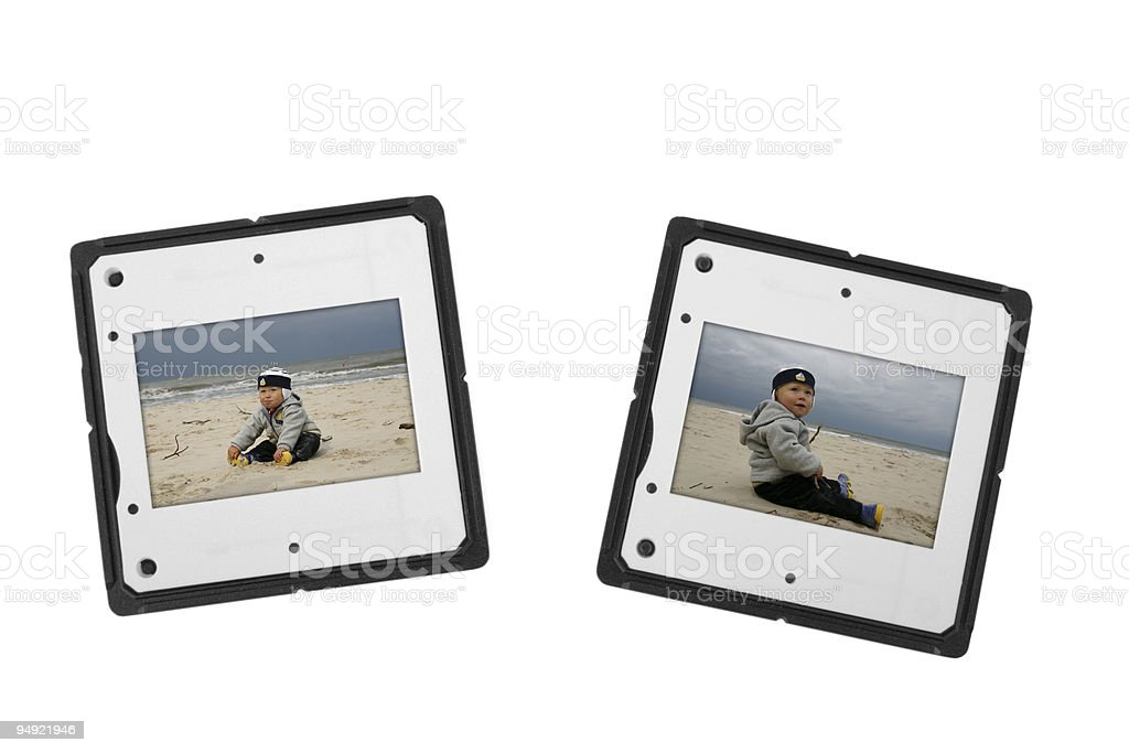 two slides with boy on a beach royalty-free stock photo