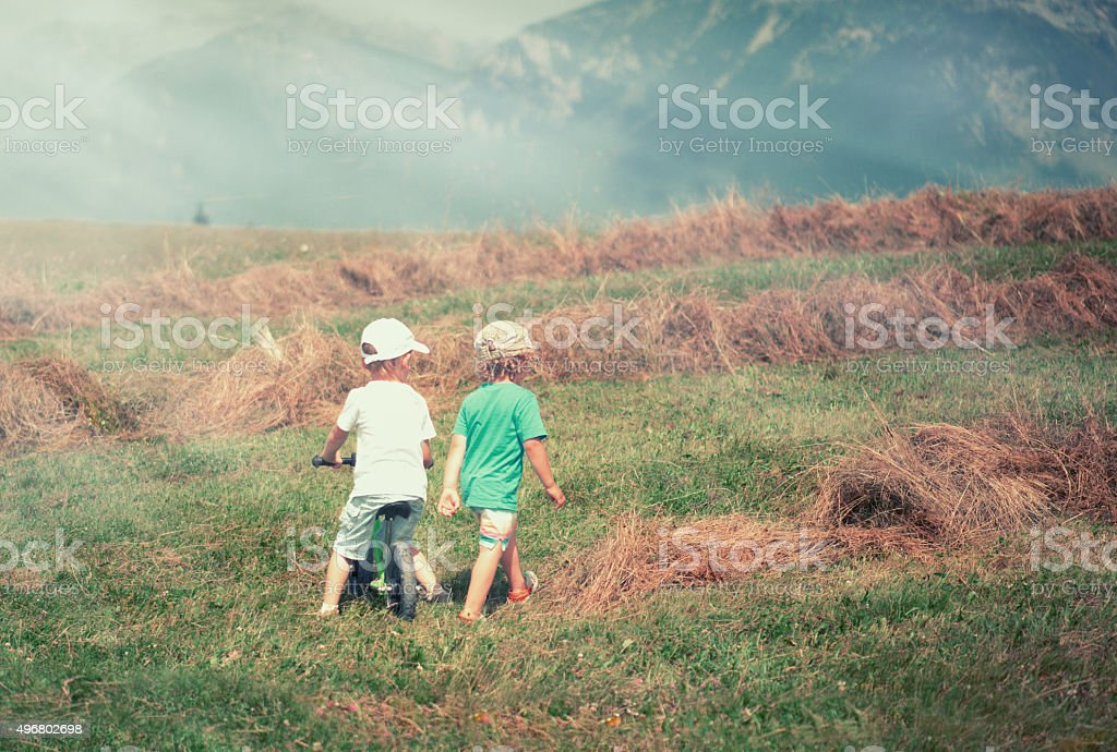 Two Small Boys in the Autumn Field stock photo