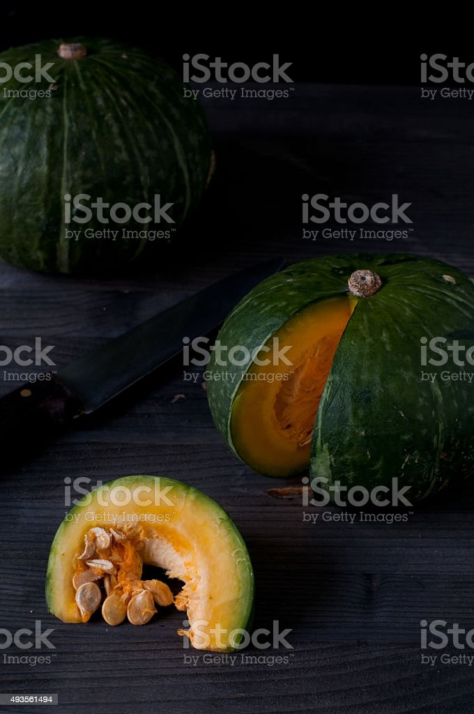 Two small pumpkins ready to be cooked stock photo
