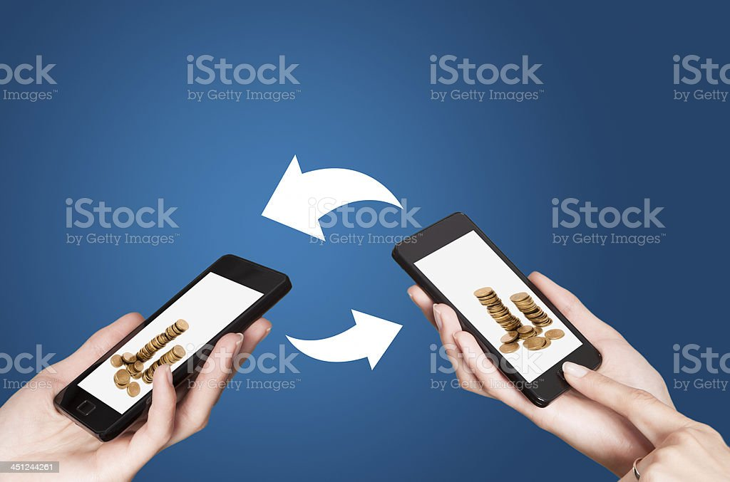 Two smart devices showing NFC- Near field communication stock photo