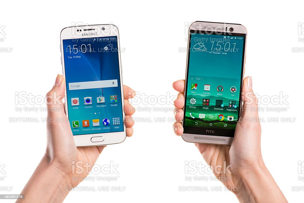 Two smartphones - Samsung Galaxy S6 and HTC One M9 stock photo