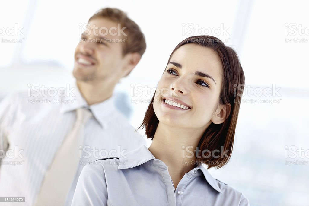 Two smiling business people royalty-free stock photo