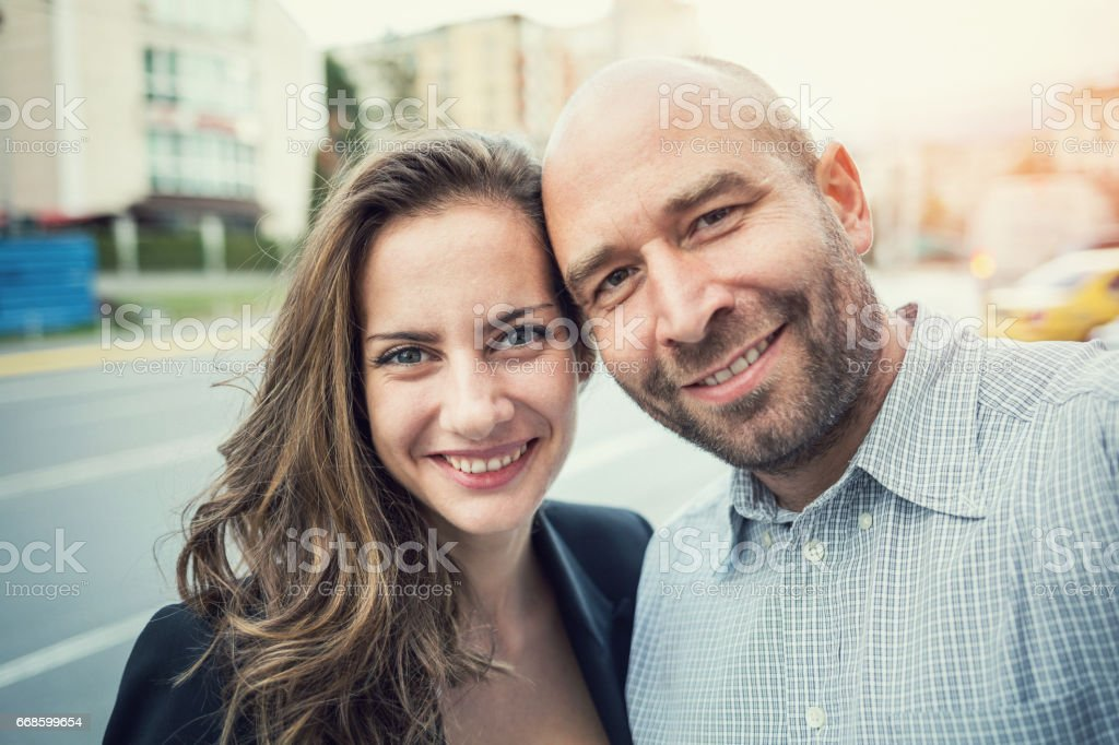 Two smiling colleagues stock photo