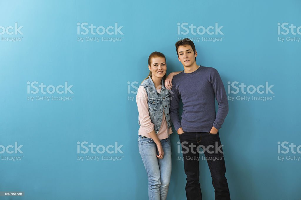 Two smiling teenagers royalty-free stock photo