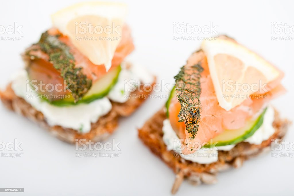 Two smoked salmon canapes royalty-free stock photo