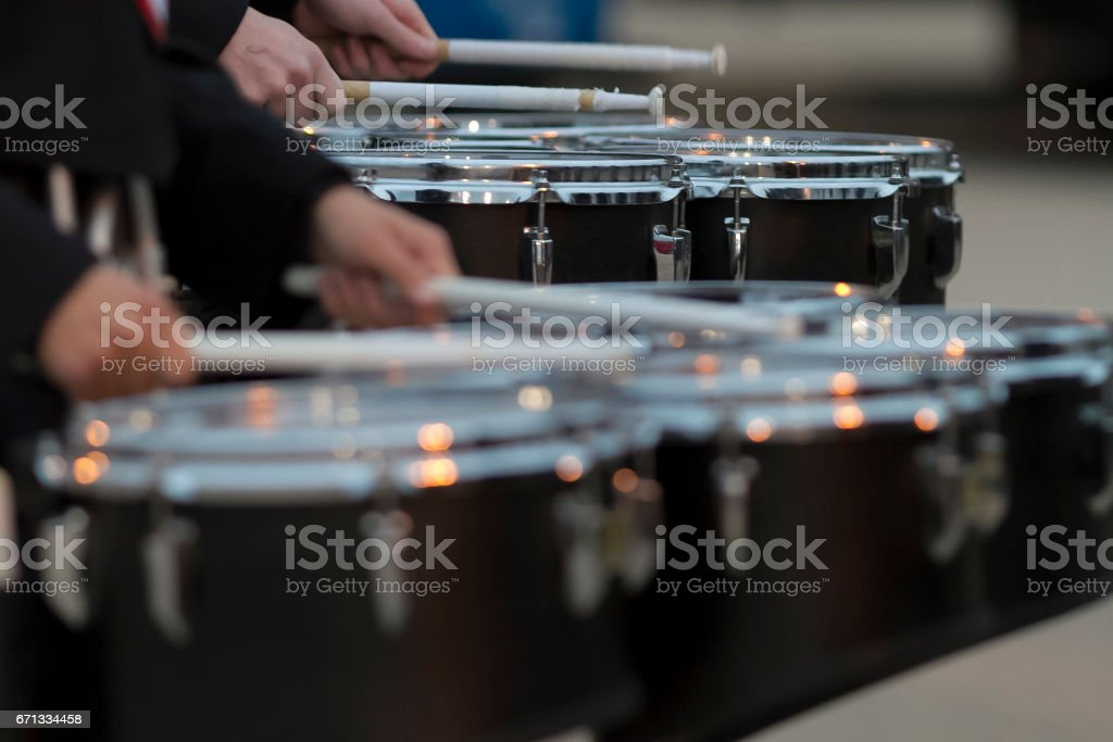 two snare drummers warming up before the bands performance stock photo