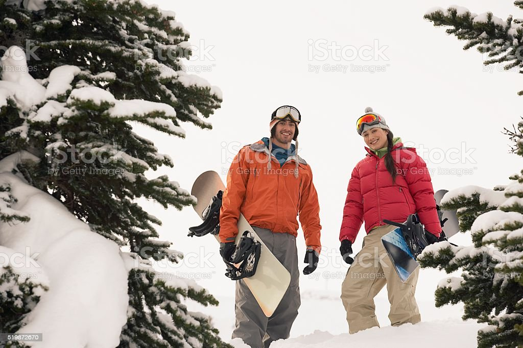 Two snowboarder stock photo