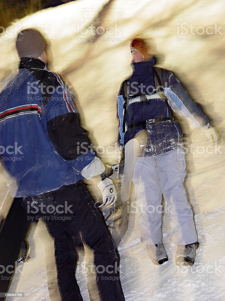 Two Snow-boardists royalty-free stock photo