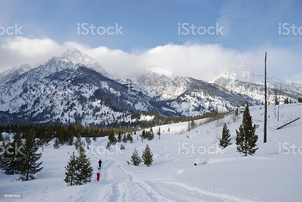 Two snowshoer's at the Grand Tetons. royalty-free stock photo