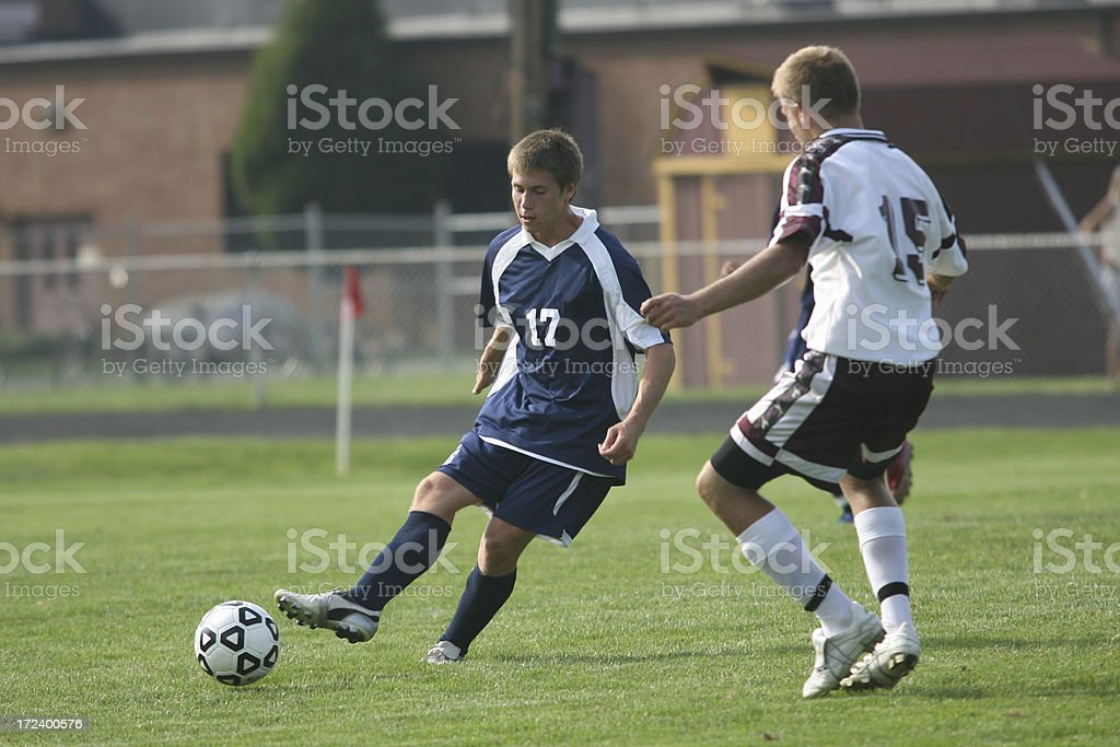 Two Soccer Players Compete royalty-free stock photo