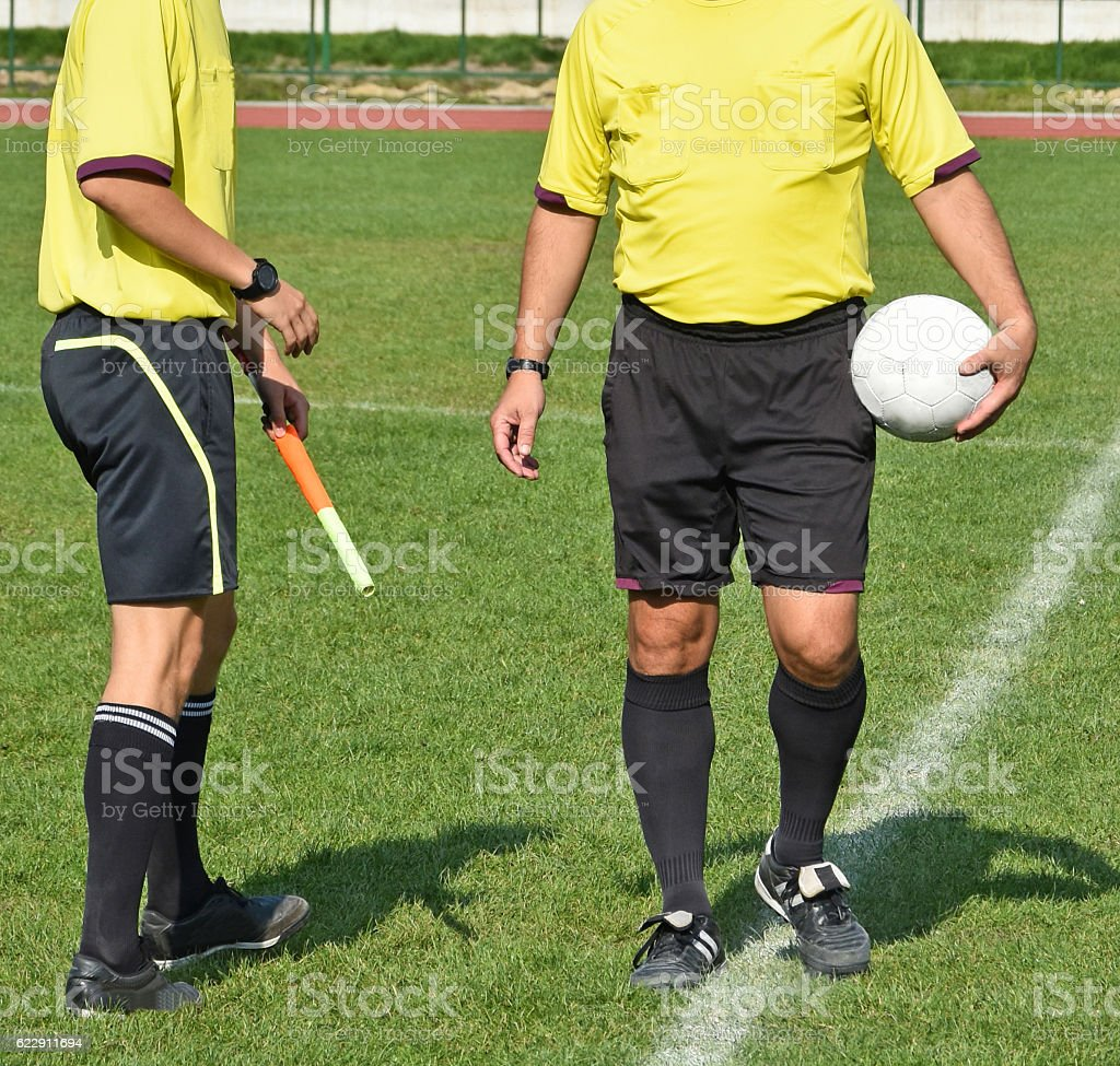 Two soccer referee before match stock photo