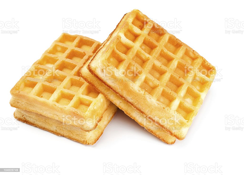 two soft waffles stock photo